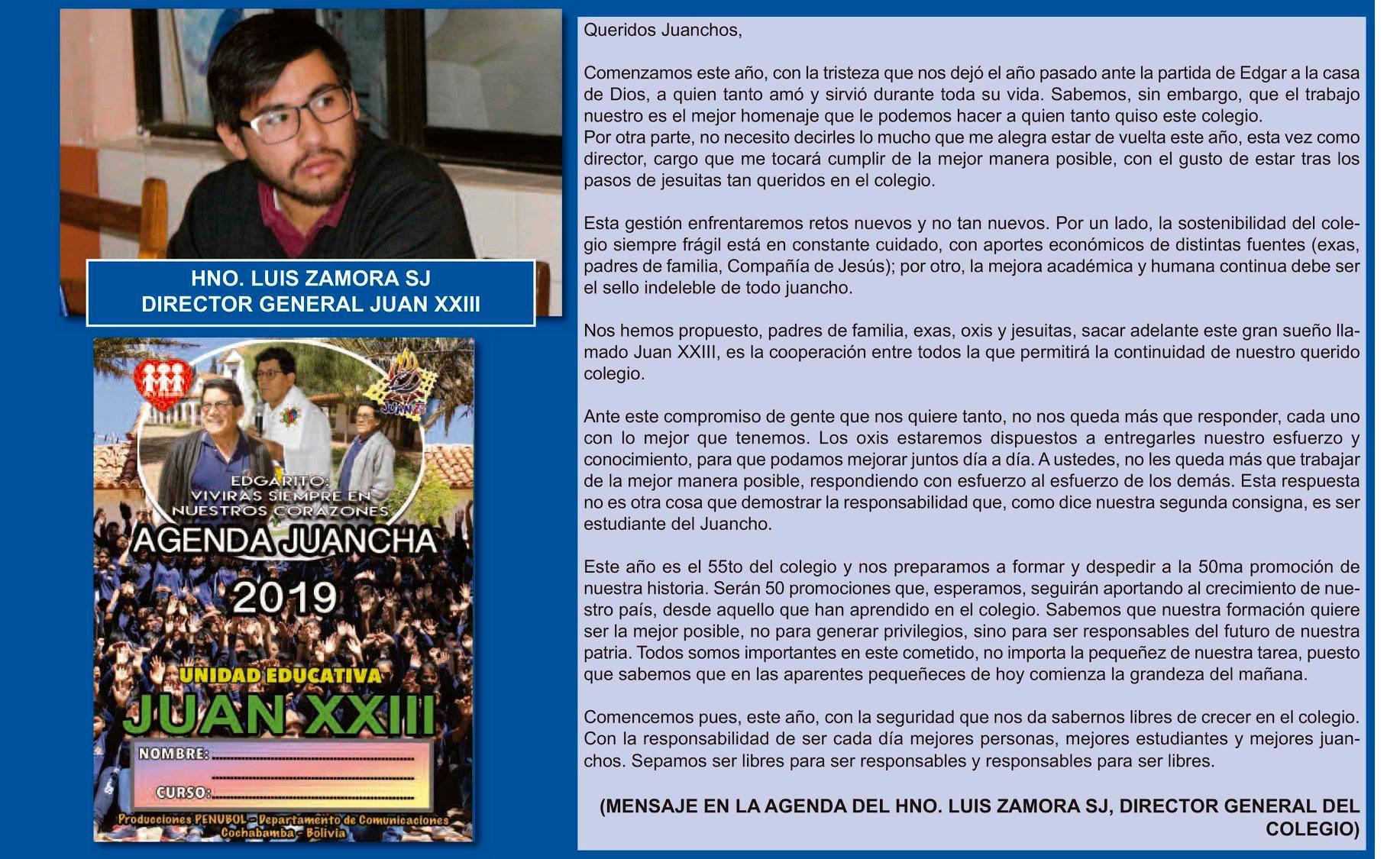 Mensaje de inicio de gestión del director: Hermano Luis Zamora, SJ